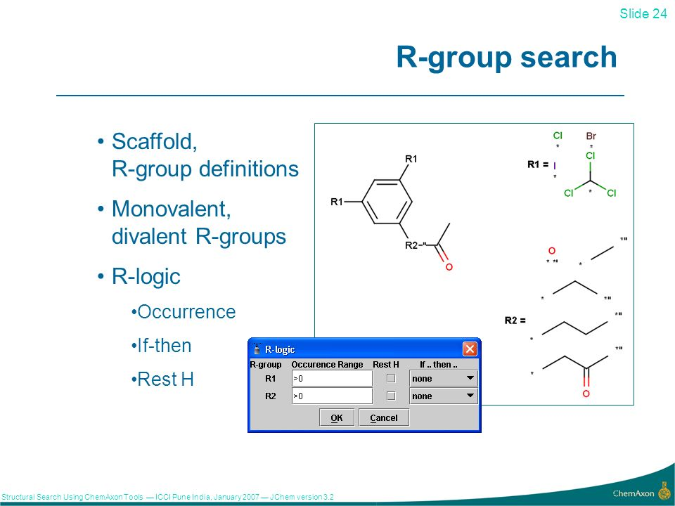 Slide 24 Structural Search Using ChemAxon Tools ICCI Pune India, January 2007 JChem version R-group search Scaffold, R-group definitions Monovalent, divalent R-groups R-logic Occurrence If-then Rest H