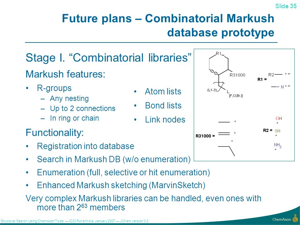 Slide 35 Structural Search Using ChemAxon Tools ICCI Pune India, January 2007 JChem version Future plans – Combinatorial Markush database prototype Stage I.