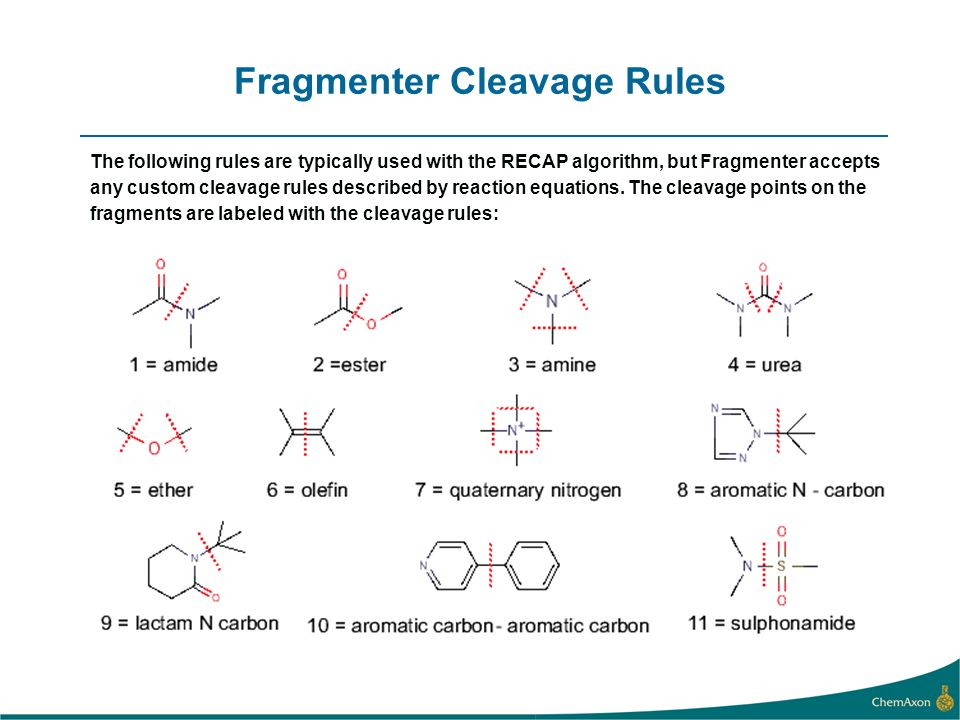 Fragmenter Cleavage Rules The following rules are typically used with the RECAP algorithm, but Fragmenter accepts any custom cleavage rules described by reaction equations.