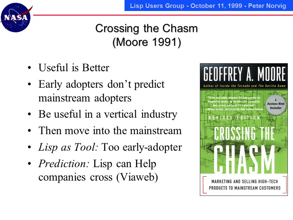 Lisp Users Group - October 11, Peter Norvig Crossing the Chasm (Moore 1991) Useful is Better Early adopters dont predict mainstream adopters Be useful in a vertical industry Then move into the mainstream Lisp as Tool: Too early-adopter Prediction: Lisp can Help companies cross (Viaweb)