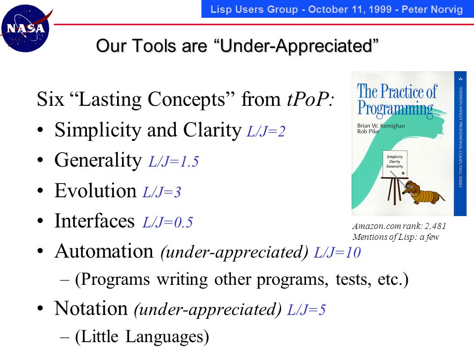 Lisp Users Group - October 11, Peter Norvig Our Tools are Under-Appreciated Six Lasting Concepts from tPoP: Simplicity and Clarity L/J=2 Generality L/J=1.5 Evolution L/J=3 Interfaces L/J=0.5 Automation (under-appreciated) L/J=10 –(Programs writing other programs, tests, etc.) Notation (under-appreciated) L/J=5 –(Little Languages) Amazon.com rank: 2,481 Mentions of Lisp: a few