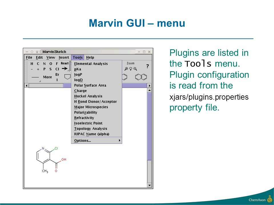 Marvin GUI – menu Plugins are listed in the Tools menu.