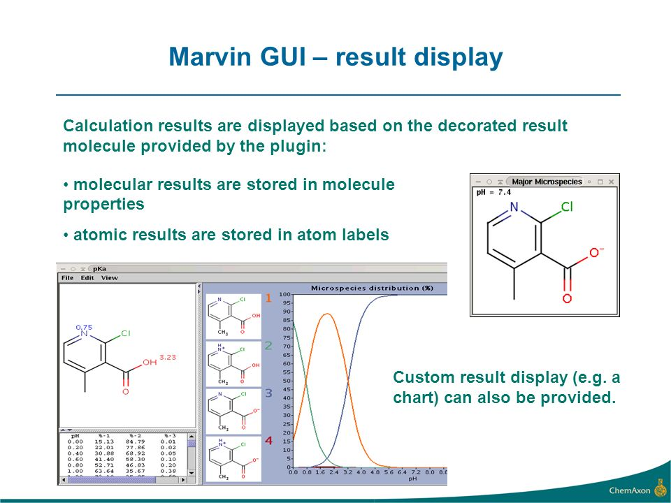Marvin GUI – result display molecular results are stored in molecule properties atomic results are stored in atom labels Custom result display (e.g.
