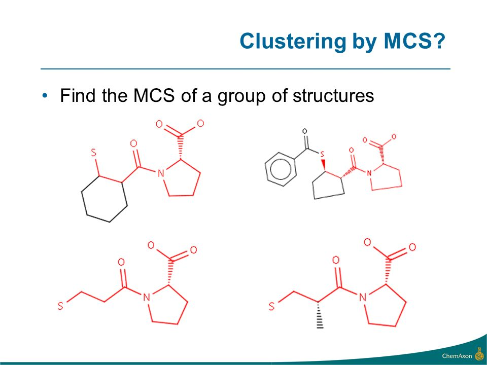 Clustering by MCS Find the MCS of a group of structures