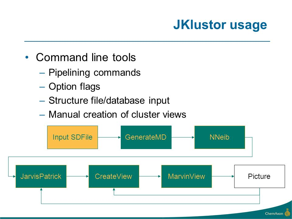 JKlustor usage Command line tools –Pipelining commands –Option flags –Structure file/database input –Manual creation of cluster views Input SDFile GenerateMDNNeib JarvisPatrickCreateViewMarvinViewPicture