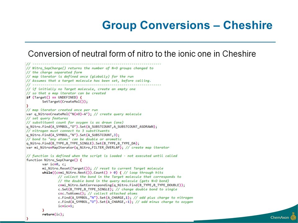 Group Conversions – Cheshire Conversion of neutral form of nitro to the ionic one in Cheshire