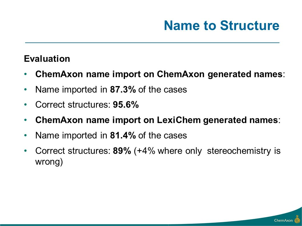 Name to Structure Evaluation ChemAxon name import on ChemAxon generated names: Name imported in 87.3% of the cases Correct structures: 95.6% ChemAxon name import on LexiChem generated names: Name imported in 81.4% of the cases Correct structures: 89% (+4% where only stereochemistry is wrong)