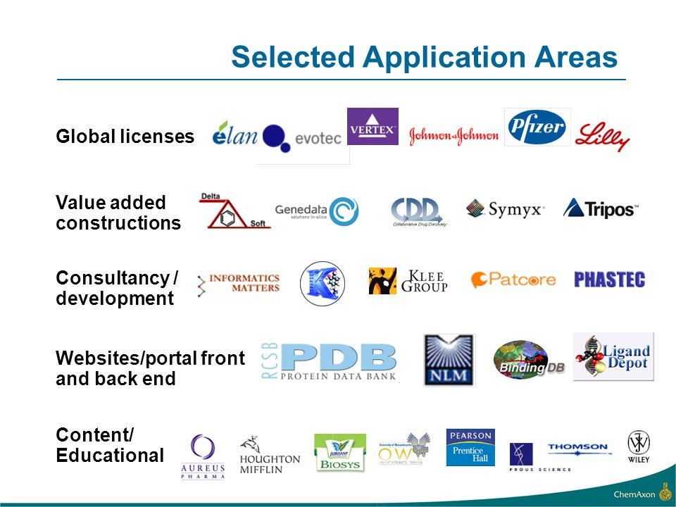 Selected Application Areas Global licenses Value added constructions Websites/portal front and back end Content/ Educational Consultancy / development