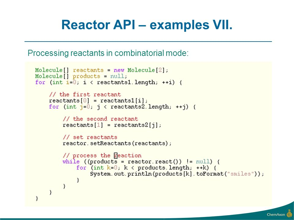 Reactor API – examples VII. Processing reactants in combinatorial mode: