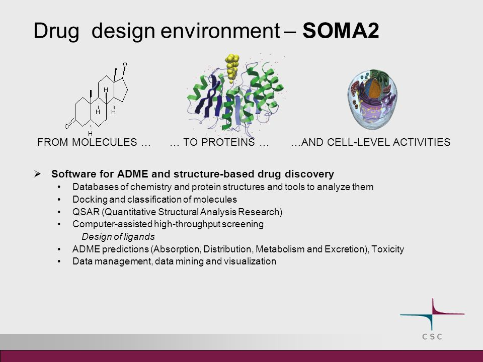 Software for ADME and structure-based drug discovery Databases of chemistry and protein structures and tools to analyze them Docking and classification of molecules QSAR (Quantitative Structural Analysis Research) Computer-assisted high-throughput screening Design of ligands ADME predictions (Absorption, Distribution, Metabolism and Excretion), Toxicity Data management, data mining and visualization FROM MOLECULES … … TO PROTEINS … …AND CELL-LEVEL ACTIVITIES Drug design environment – SOMA2