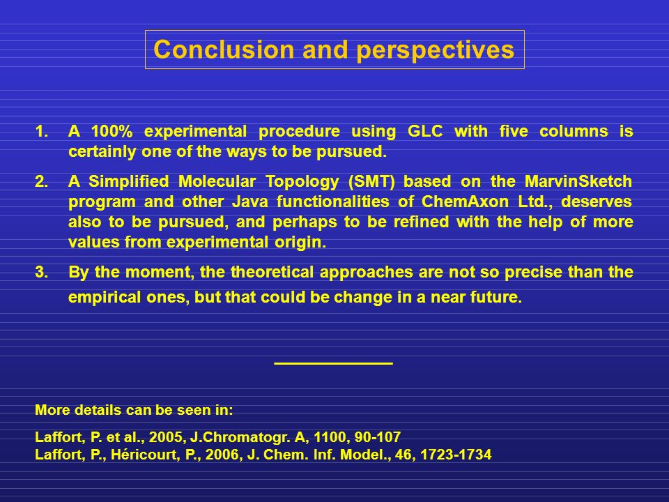 Conclusion and perspectives 1.A 100% experimental procedure using GLC with five columns is certainly one of the ways to be pursued.