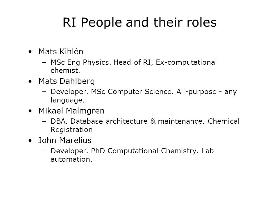 RI People and their roles Mats Kihlén –MSc Eng Physics.