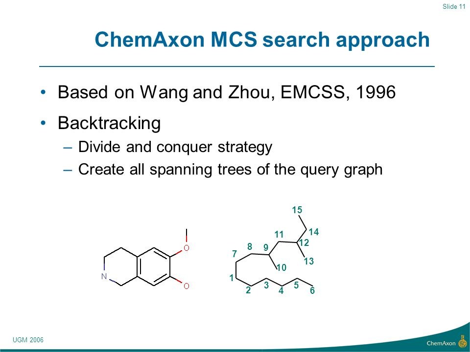 UGM 2006 Slide 11 ChemAxon MCS search approach Based on Wang and Zhou, EMCSS, 1996 Backtracking –Divide and conquer strategy –Create all spanning trees of the query graph