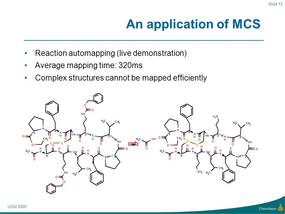 UGM 2006 Slide 13 An application of MCS Reaction automapping (live demonstration) Average mapping time: 320ms Complex structures cannot be mapped efficiently