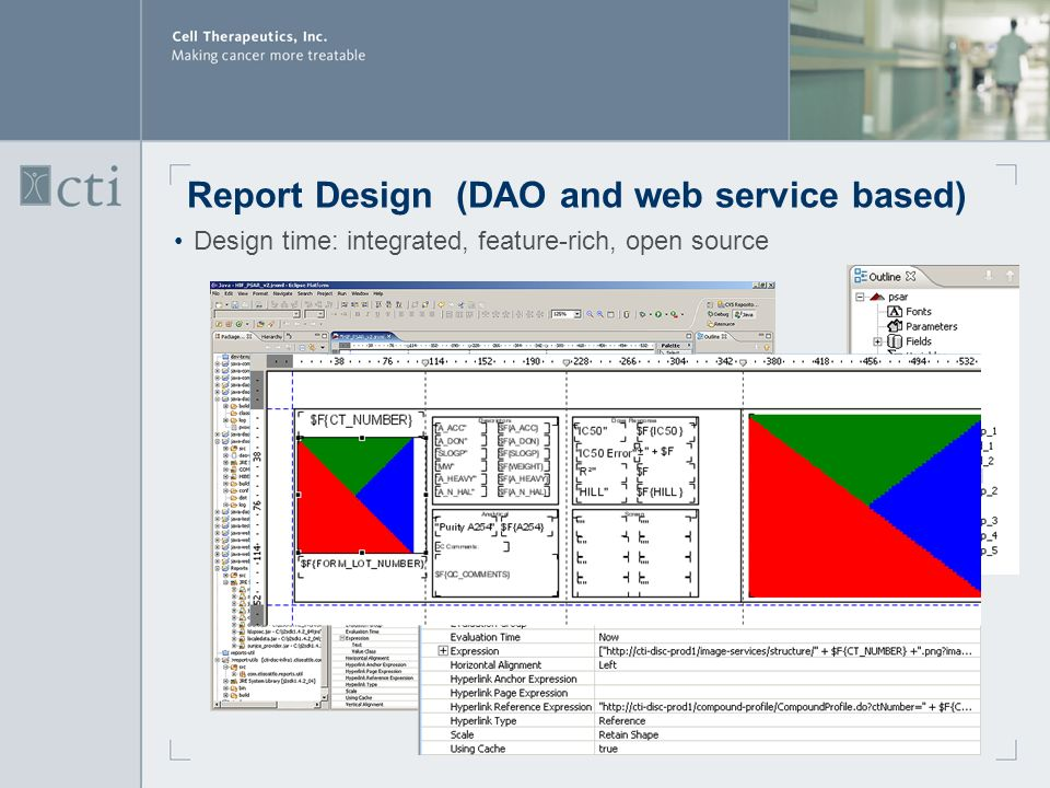 Report Design (DAO and web service based) Design time: integrated, feature-rich, open source