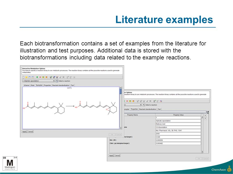 Literature examples Each biotransformation contains a set of examples from the literature for illustration and test purposes.