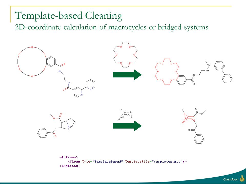 Template-based Cleaning 2D-coordinate calculation of macrocycles or bridged systems