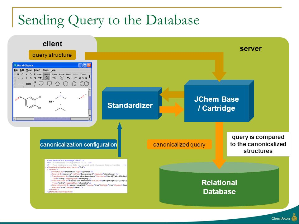 client Sending Query to the Database Relational Database server query structure canonicalization configurationcanonicalized query query is compared to the canonicalized structures Standardizer JChem Base / Cartridge