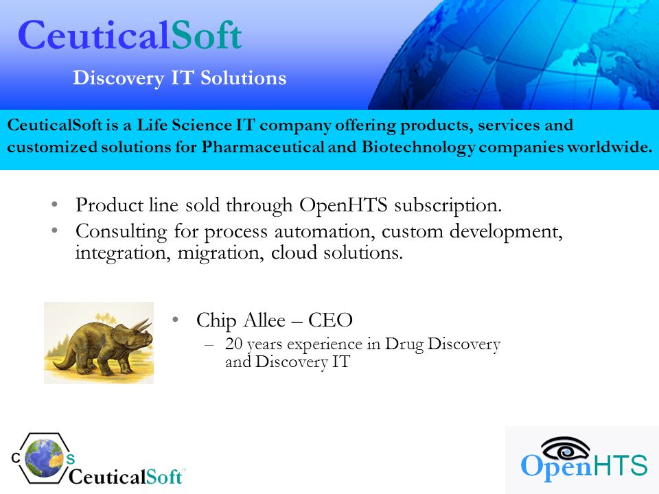 CeuticalSoft Discovery IT Solutions CeuticalSoft is a Life Science IT company offering products, services and customized solutions for Pharmaceutical and Biotechnology companies worldwide.
