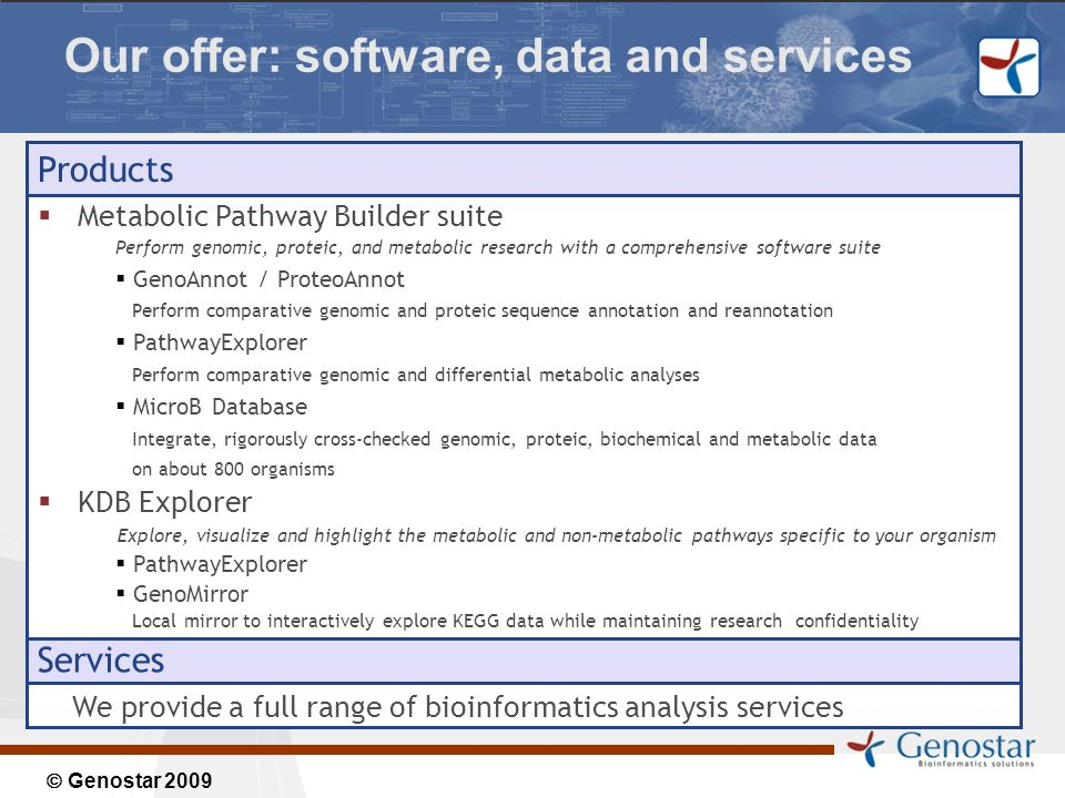 Genostar 2009 Our offer: software, data and services Products Metabolic Pathway Builder suite Perform genomic, proteic, and metabolic research with a comprehensive software suite GenoAnnot / ProteoAnnot Perform comparative genomic and proteic sequence annotation and reannotation PathwayExplorer Perform comparative genomic and differential metabolic analyses MicroB Database Integrate, rigorously cross-checked genomic, proteic, biochemical and metabolic data on about 800 organisms KDB Explorer Explore, visualize and highlight the metabolic and non-metabolic pathways specific to your organism PathwayExplorer GenoMirror Local mirror to interactively explore KEGG data while maintaining research confidentiality Services We provide a full range of bioinformatics analysis services