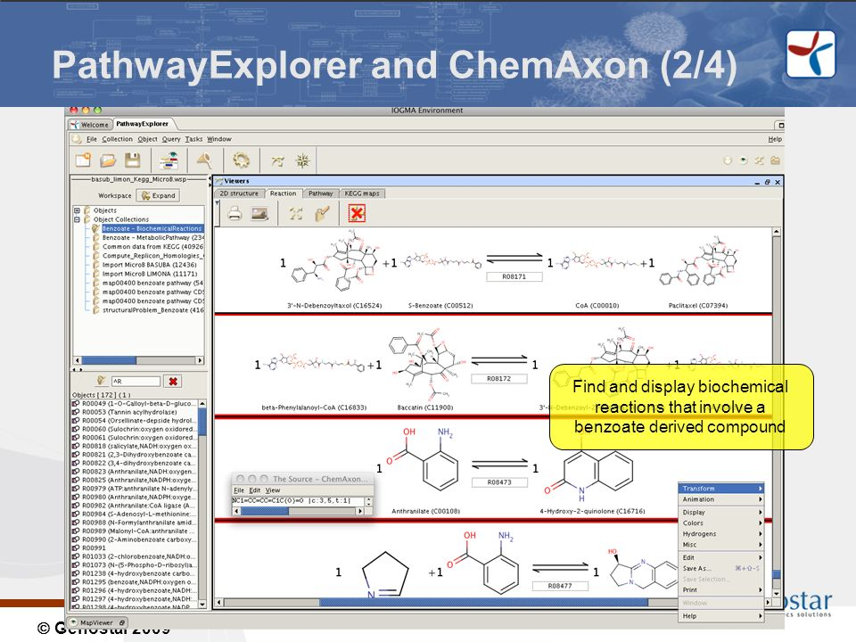 Genostar 2009 PathwayExplorer and ChemAxon (2/4) Find and display biochemical reactions that involve a benzoate derived compound