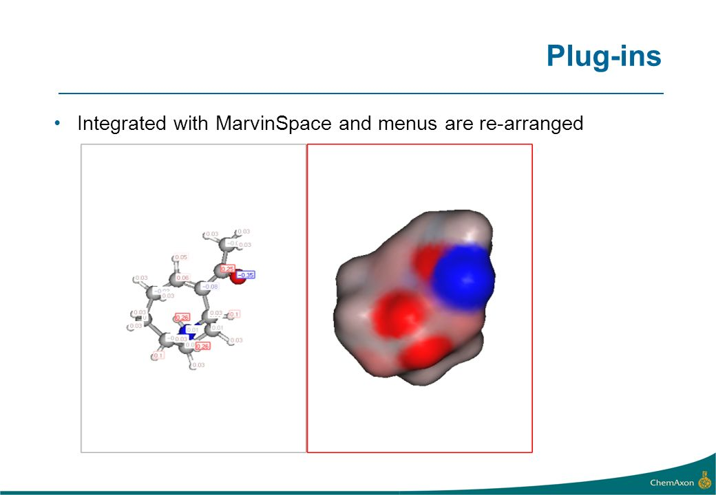 Plug-ins Integrated with MarvinSpace and menus are re-arranged