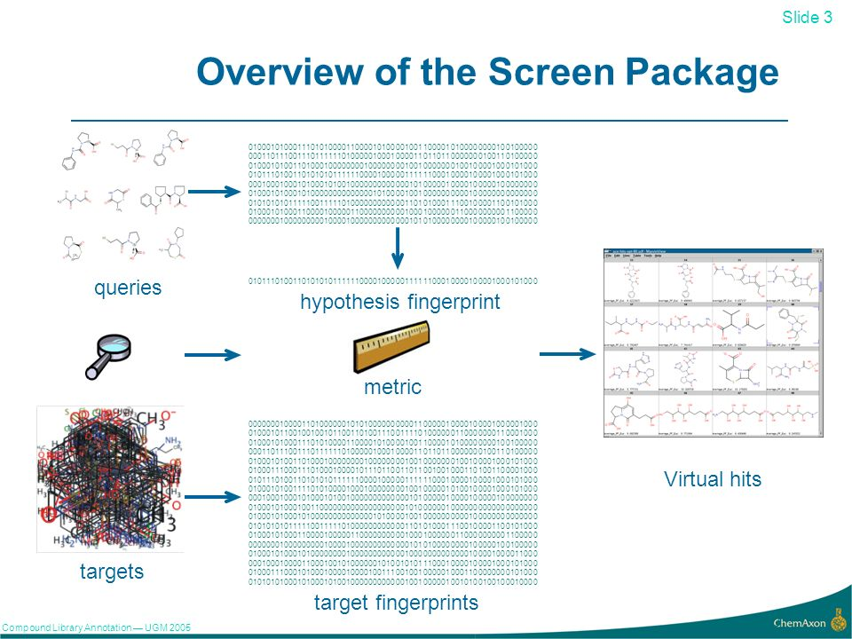 Slide 3 Compound Library Annotation UGM Overview of the Screen Package queries targets hypothesis fingerprint metric target fingerprints Virtual hits