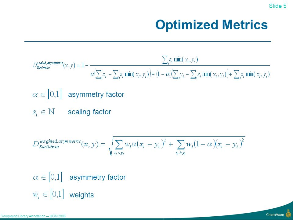 Slide 5 Compound Library Annotation UGM Optimized Metrics asymmetry factor scaling factor asymmetry factor weights