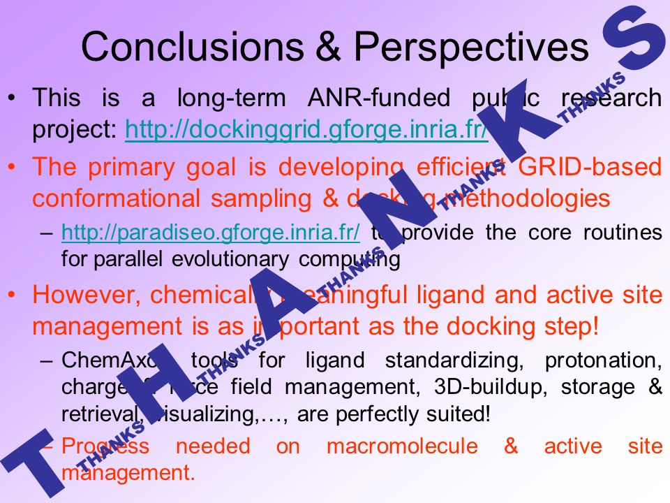 Conclusions & Perspectives This is a long-term ANR-funded public research project:   The primary goal is developing efficient GRID-based conformational sampling & docking methodologies –  to provide the core routines for parallel evolutionary computinghttp://paradiseo.gforge.inria.fr/ However, chemically meaningful ligand and active site management is as important as the docking step.