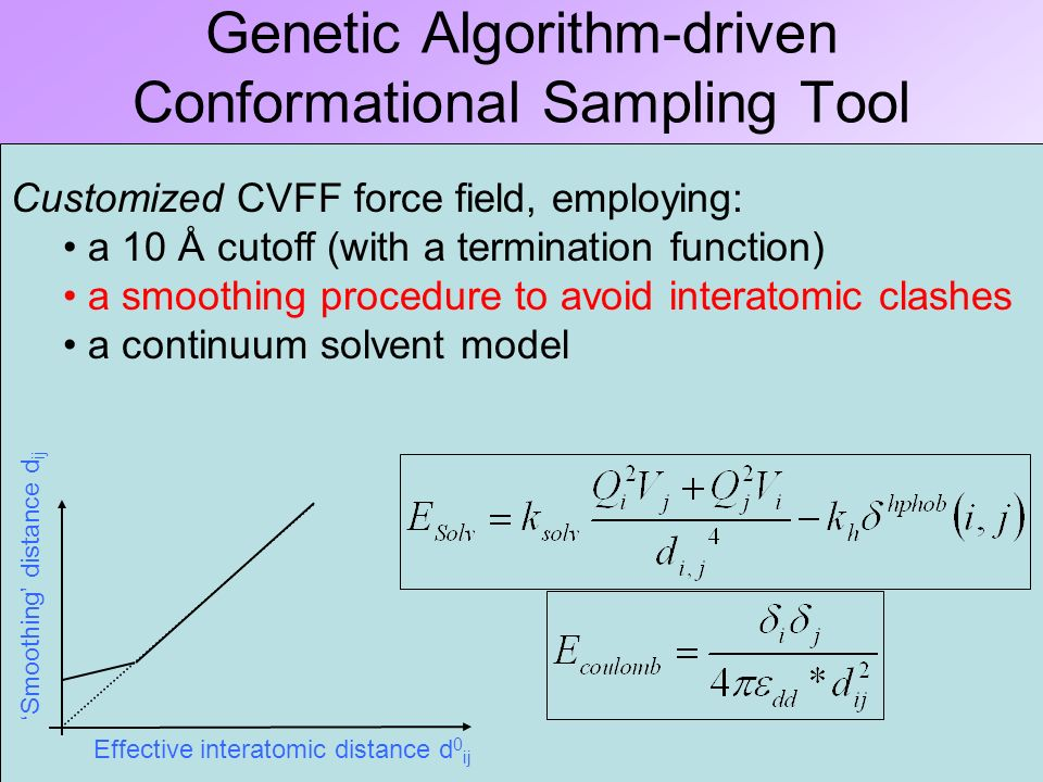 Genetic Algorithm-driven Conformational Sampling Tool Based on a Genetic Algorithm, coding conformers as chromosomes in which each locus stands for a torsional angle value.