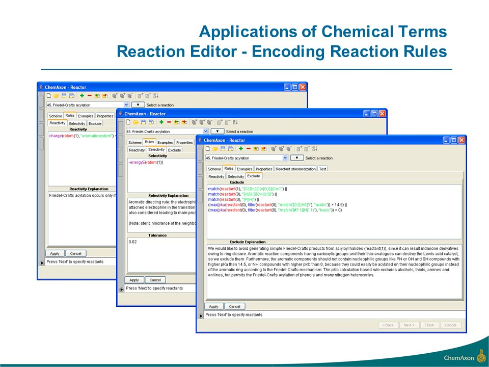 Applications of Chemical Terms Reaction Editor - Encoding Reaction Rules
