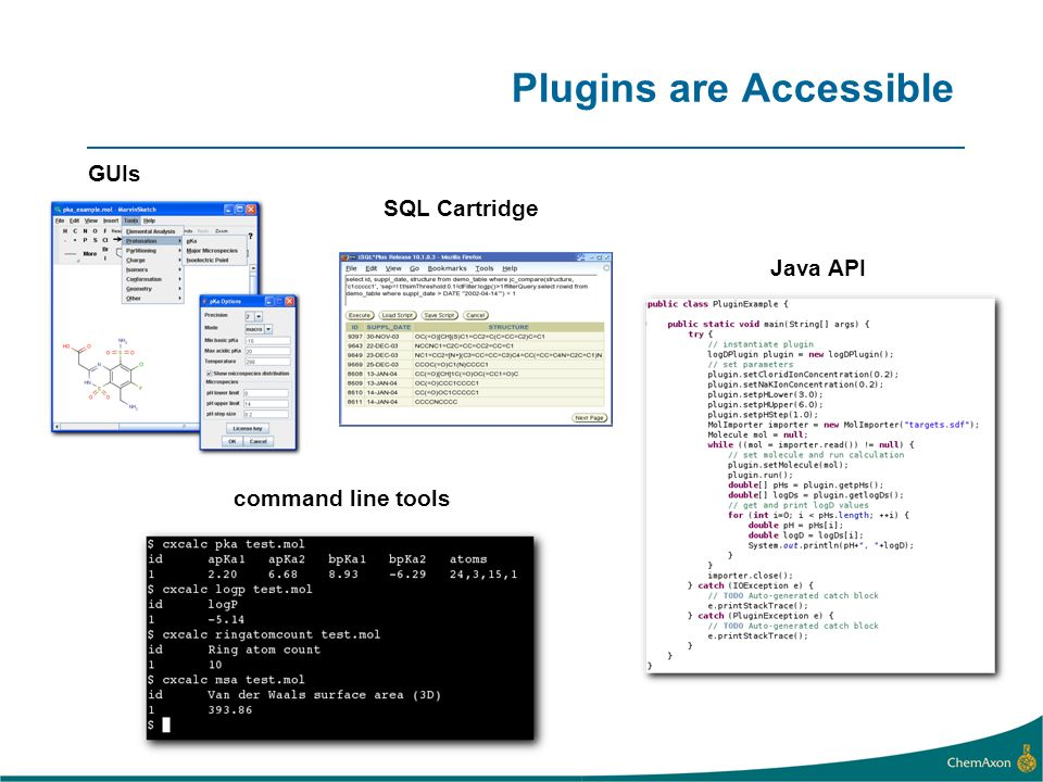 Plugins are Accessible GUIs command line tools Java API SQL Cartridge