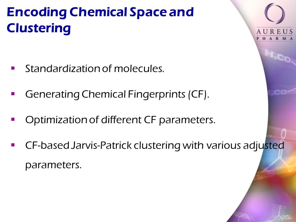 Standardization of molecules. Generating Chemical Fingerprints (CF).