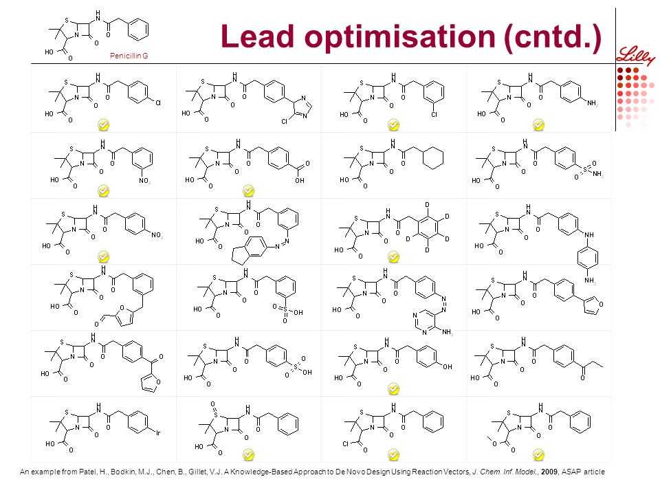 Lead optimisation (cntd.) An example from Patel, H., Bodkin, M.J., Chen, B., Gillet, V.J.