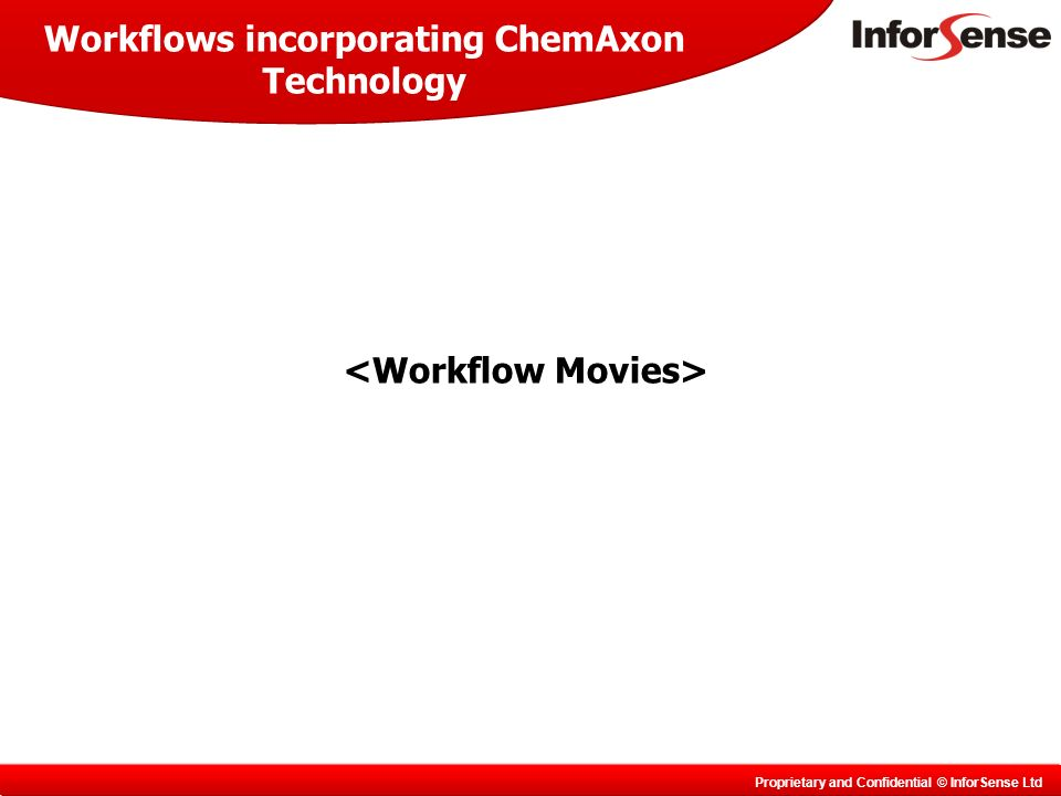 Proprietary and Confidential © InforSense Ltd Workflows incorporating ChemAxon Technology