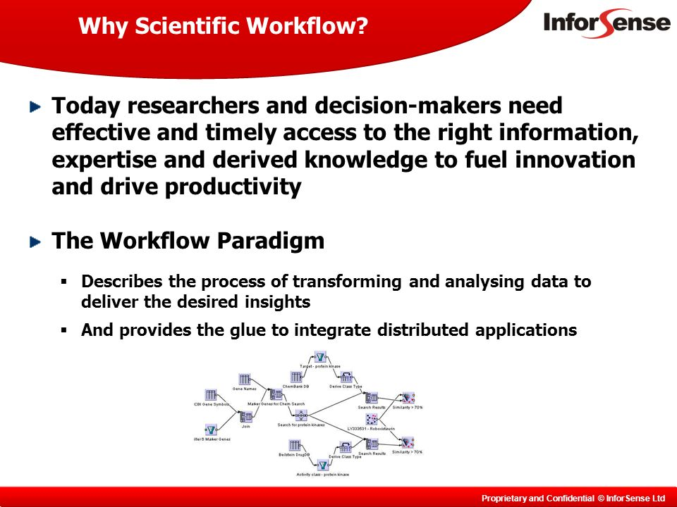 Proprietary and Confidential © InforSense Ltd Why Scientific Workflow.
