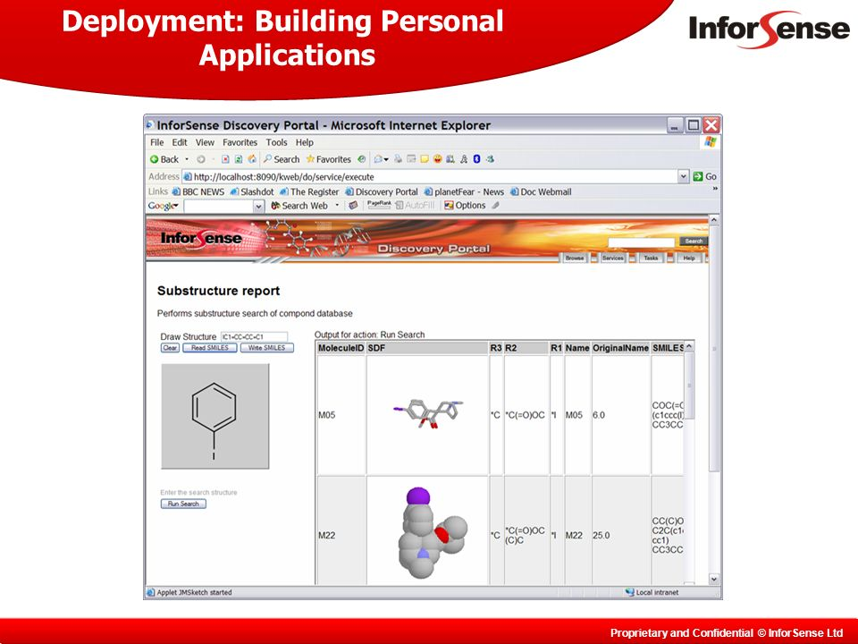 Proprietary and Confidential © InforSense Ltd Deployment: Building Personal Applications