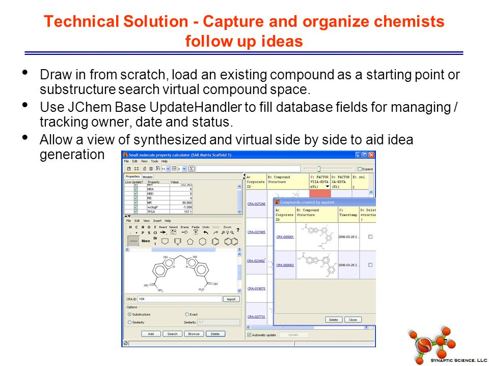 7 Technical Solution - Capture and organize chemists follow up ideas Draw in from scratch, load an existing compound as a starting point or substructure search virtual compound space.