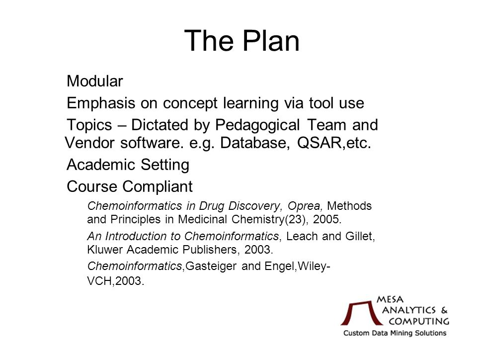The Plan Modular Emphasis on concept learning via tool use Topics – Dictated by Pedagogical Team and Vendor software.