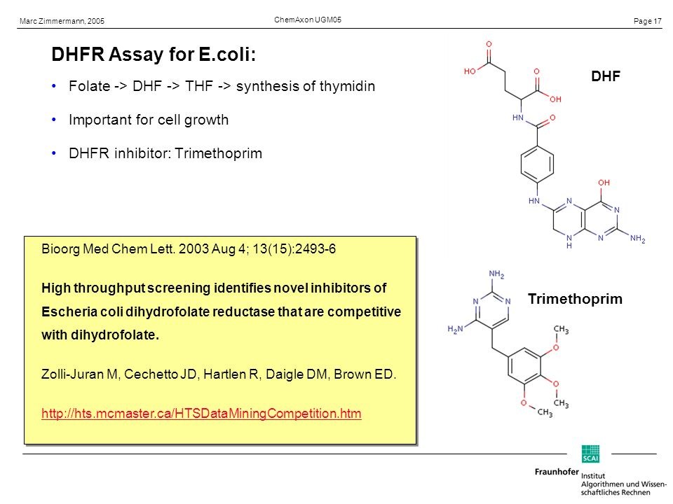 Page 17 Marc Zimmermann, 2005 ChemAxon UGM05 DHFR Assay for E.coli: Folate -> DHF -> THF -> synthesis of thymidin Important for cell growth DHFR inhibitor: Trimethoprim DHF Trimethoprim Bioorg Med Chem Lett.