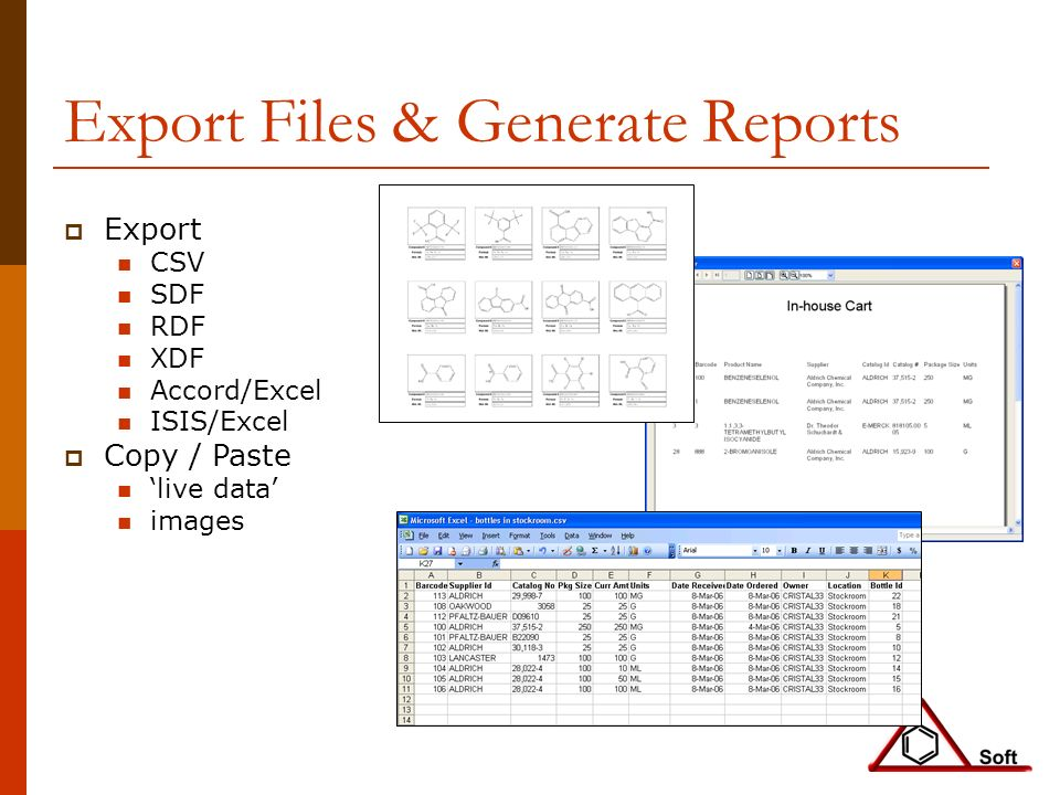 Export Files & Generate Reports Export CSV SDF RDF XDF Accord/Excel ISIS/Excel Copy / Paste live data images