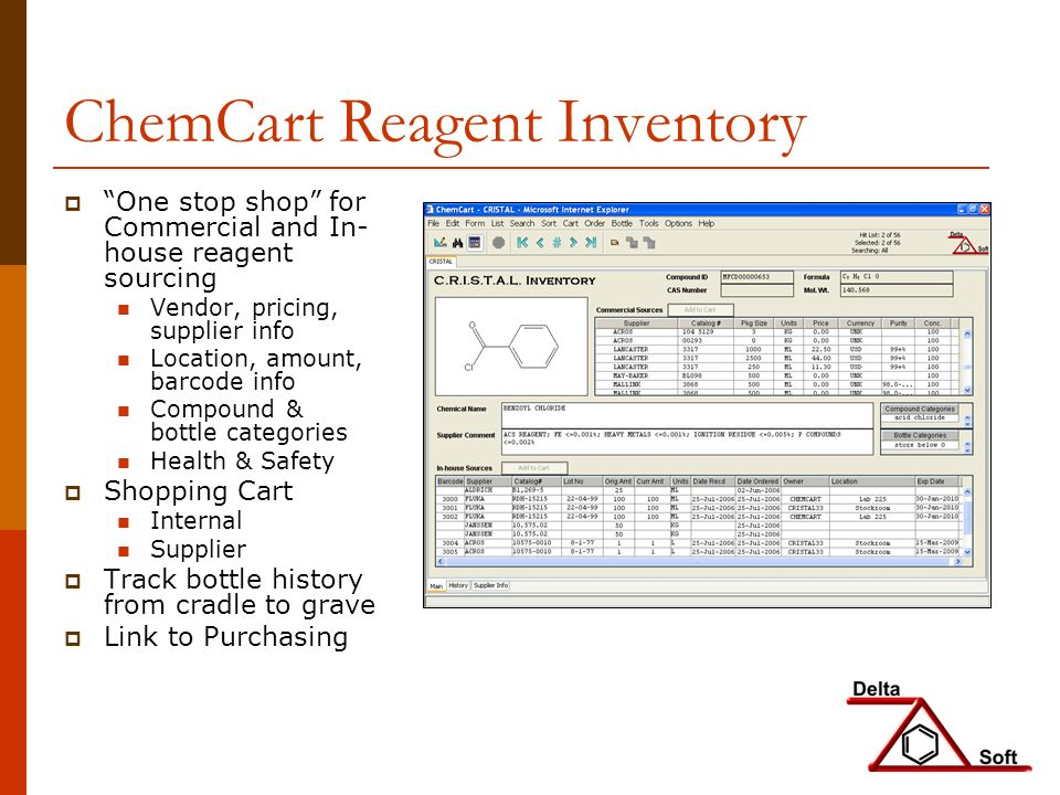ChemCart Reagent Inventory One stop shop for Commercial and In- house reagent sourcing Vendor, pricing, supplier info Location, amount, barcode info Compound & bottle categories Health & Safety Shopping Cart Internal Supplier Track bottle history from cradle to grave Link to Purchasing