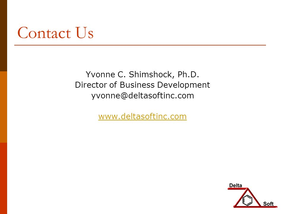 Contact Us Yvonne C. Shimshock, Ph.D.