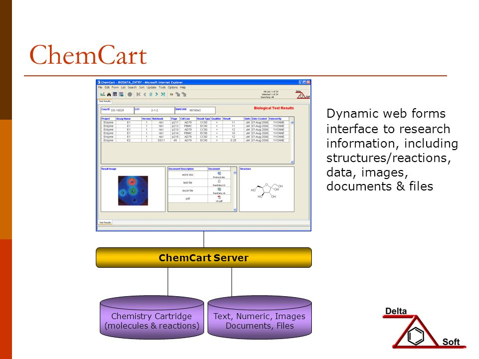 Dynamic web forms interface to research information, including structures/reactions, data, images, documents & files ChemCart ChemCart Server Text, Numeric, Images Documents, Files Chemistry Cartridge (molecules & reactions)