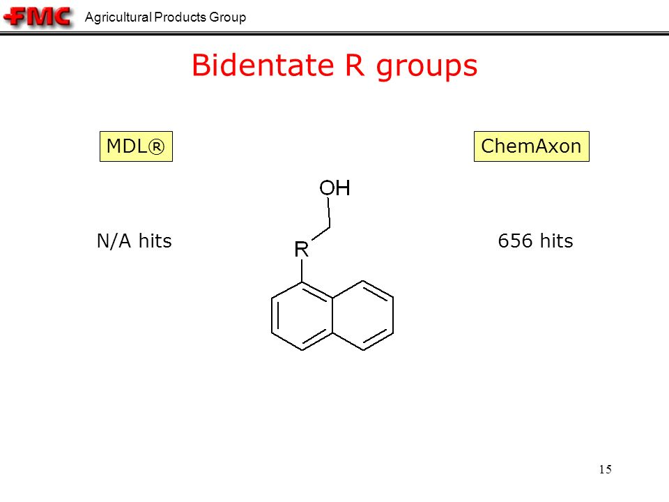 Agricultural Products Group 15 Bidentate R groups ChemAxon N/A hits656 hits MDL®