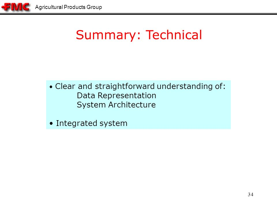 Agricultural Products Group 34 Summary: Technical Clear and straightforward understanding of: Data Representation System Architecture Integrated system