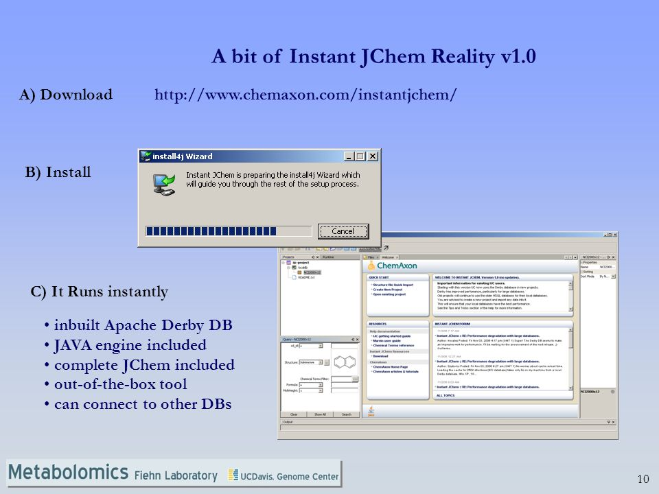 10 A bit of Instant JChem Reality v1.0 A) Download B) Install C) It Runs instantly   inbuilt Apache Derby DB JAVA engine included complete JChem included out-of-the-box tool can connect to other DBs