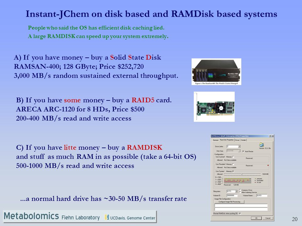 20 Instant-JChem on disk based and RAMDisk based systems People who said the OS has efficient disk caching lied.