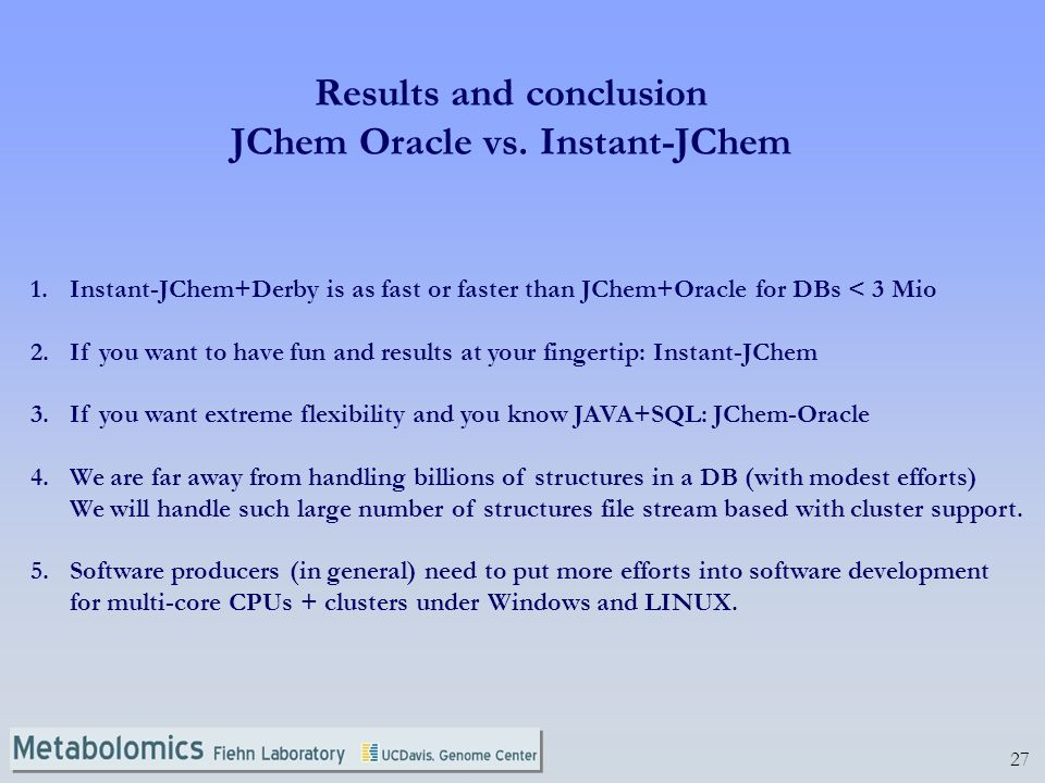 27 Results and conclusion JChem Oracle vs.