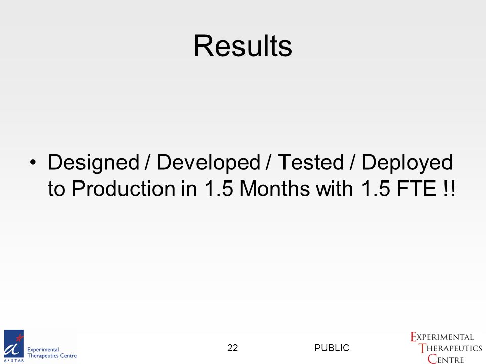 PUBLIC22 Results Designed / Developed / Tested / Deployed to Production in 1.5 Months with 1.5 FTE !!